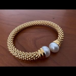 Honora gold-clad sterling silver flexible bangle